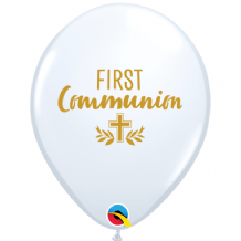 "First Communion Balloons - 11"" First Communion Cross (25pcs White)"